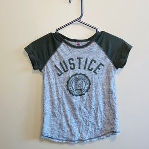Green and grey short sleeve justice t shirt
